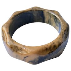 Delicious Marbled Carved Bakelite Bangle