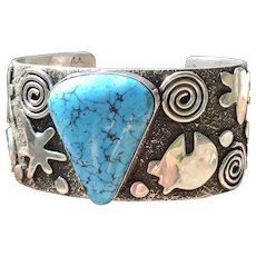 Native American Kingman Turquoise cuff by Alex Sanchez