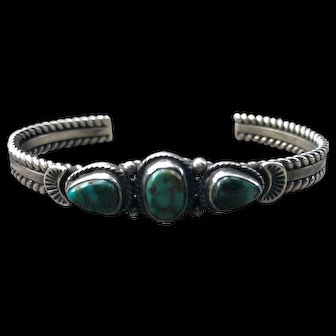 Native American Sterling And Turquoise Bracelet