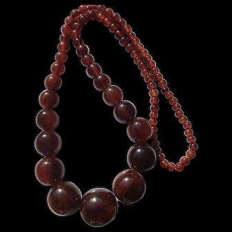 Vintage Marbled Rootbeer Bakelite Necklace
