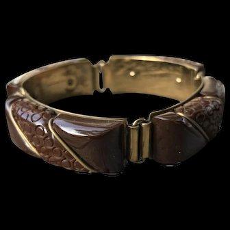 Beautiful Carved Rich Brown Bakelite and Brass Bakelite Link Bracelet