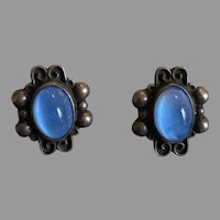 Vintage Mexico Sterling Silver Earrings With Blue Glass Cabochons