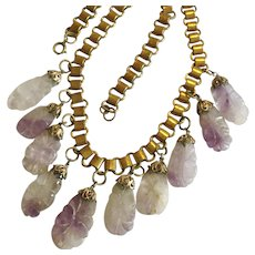 Vintage Carved Amethyst Bookchain Necklace, February Birthstone