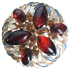 Vintage Kramer Round Enamel Pin Brooch with Ruby Red Cabochons