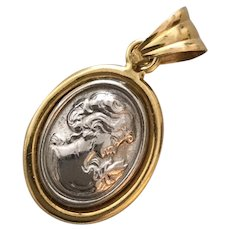 Platinum and 18K Gold Cameo Pendant or Charm for Necklace or Bracelet