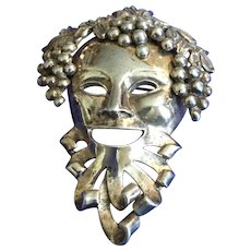 Unsigned Reja Large Gold Wash Sterling Bacchus Dionysus Mardi Gras Mask with Grapes Pin Brooch