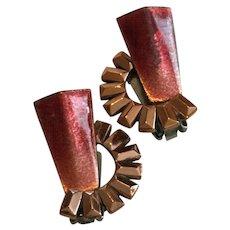 Vintage Matisse Copper and Red Maroon 1950s Earrings