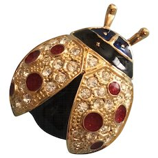 Vintage ROMAN Ladybug Insect Figural Pin Brooch with Red and Clear Rhinestones