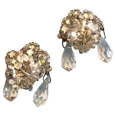 Vintage Karen Landon Clear Rhinestone and Rivoli Stone and Seed Bead Glitzy Dangling Earrings