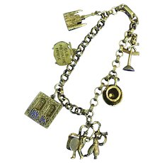 Vintage Coro New Orleans Charm Bracelet, Mardi Gras, Old Absinthe House, Pirate's Alley Charms