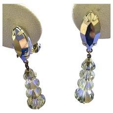 Vintage Long Swinging Lewis Segal California Clear Dangle Earrings