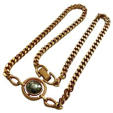 Vintage Louis Feraud  18 Inch Goldtone Curb Chain Necklace with Hematite Center