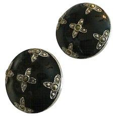 Vintage 1928 Black Enamel and Marcasite Button Earrings