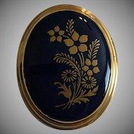 Vintage 14K Gold Filled Lenox Porcelain  Pin Pendant Brooch in Gold and Blue
