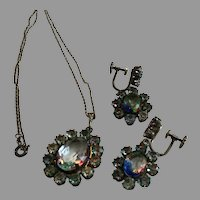 Vintage 835 Silver Iris Rainbow Rhinestone Necklace and Earrings Set