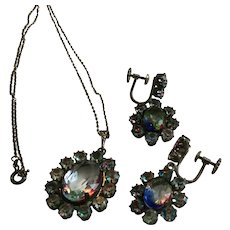 Vintage 835 Silver Iris Rainbow Rhinestone Necklace and Earrings Set