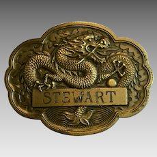 """Vintage Heavy Brass Dragon Belt Buckle Inscribed """"Stewart"""""""
