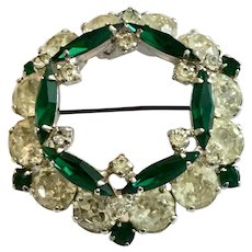 Vintage Sherman Green and Clear Rhinestone Dimensional Pin Brooch