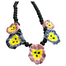 Vintage FLYING COLORS Ceramic Pink and Purple Pansy Necklace with Black Bead Chain
