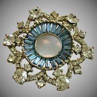Vintage Blue Baguette Rhinestones and Clear Rhinestones Pin Brooch