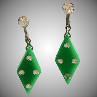 Vintage Green Lucite and Clear Rhinestone Earrings