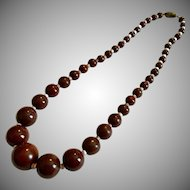 Vintage Brown Round Glass Bead Necklace