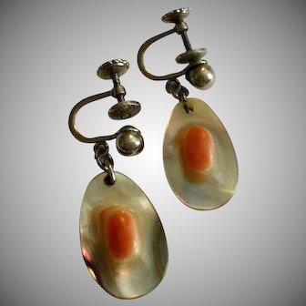 Vintage Blister Pearl Screwback Earrings
