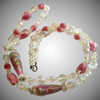 Vintage 32 Inch Long Pink and Clear Art Glass Necklace