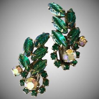 Vintage Green Rhinestone and Art Glass Clip Earrings