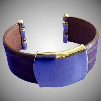Vintage Monet Brown Leather and Goldtone Cuff Bracelet