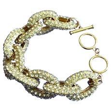 Vintage Interlocking Rhinestone Links Bracelet