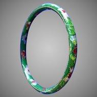 Vintage Cloisonné Bangle Bracelet in Blue, Pink, Red, Green