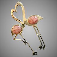 Vintage Sterling Silver FMW Flamingo Love Birds with Pink Rhobonite Pin Brooch