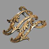 "Vintage Plafina Mexico Sterling Silver Ornate Monogram ""W"" Pin Brooch"