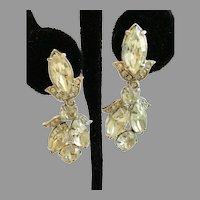 Vintage Eisenberg Clear Rhinestone Dangling Earrings; Great for Weddings