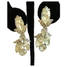 Vintage Eisenberg Clear Rhinestone Dangling Earrings; Great for Weddings