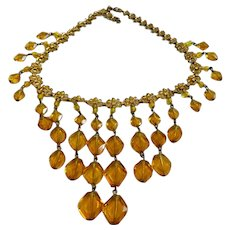 Vintage Amber Octagonal Glass Dangles Bookchain Necklace