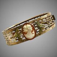 Vintage Pierced 10k Gold-Filled Cameo Hinged Bracelet J. J. White