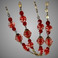 Vintage Red & Clear Glass Art Bead Long Necklace