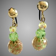Vintage Light Green Gold Foiled Dangling Clip Earrings