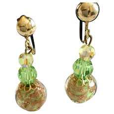 Vintage Light Green Gold Foiled Dangling Clip Earrings