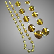 """Vintage Highly Faceted Amber Glass Bead Long 38"""" Necklace 1920s"""