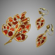"""Vintage Florenza Red and Orange """"Stained Glass"""" Pin and Earrings Set"""
