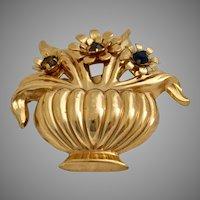 Vintage Coro Basket of Flowers Pin Brooch with Rhinestones
