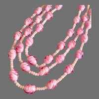 Vintage W. Germany Pink Art Beads on 3-Strand Necklace