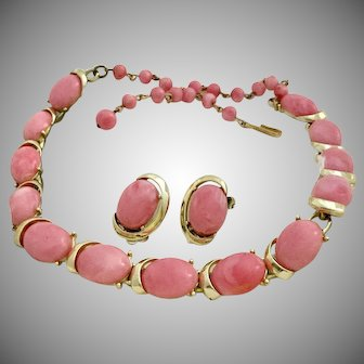 Vintage Coro Pink Marbled Stone Necklace and Earrings