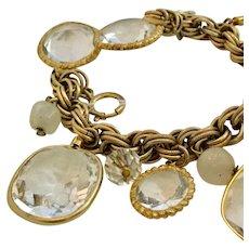 Vintage Accessocraft NYC Clear Bezel-Set Glass Stones and Goldtone Bracelet
