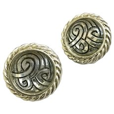 Vintage Glass with Black Inset Swirl Round Clip Earrings