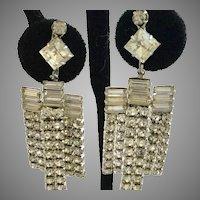 Vintage Multiple Shapes Clear Rhinestones Long Clip Earrings