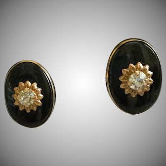 Vintage Gold Filled Black Enamel with Center Rhinestone Oval Earrings
